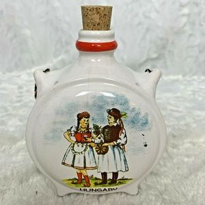 Hungary Ceramic Decanter Corked Jar  Two Ladies an
